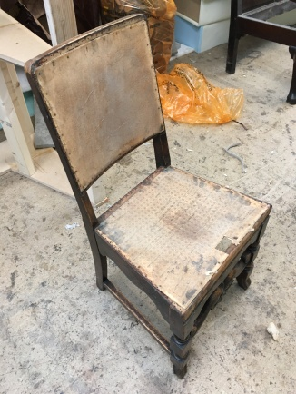 Leather dining chair - before