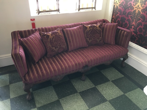 Burgundy stripe sofa