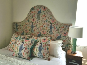 Peacock headboard & cushions