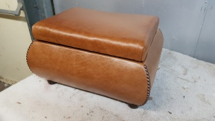 Leather studded footstool