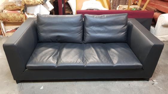 Ligne Roset Feng black leather sofa – KRS Upholstery